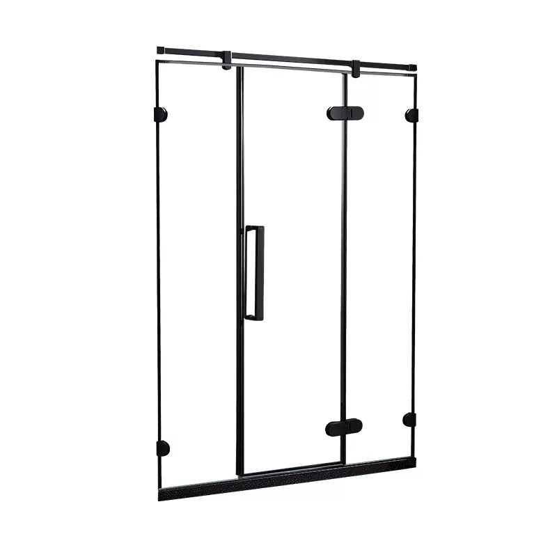Hotel Black Frameless Hinge Shower Door D79