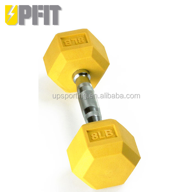 UPFIT Weight lifting color hex rubber dumbbell for cross fit weightlifting