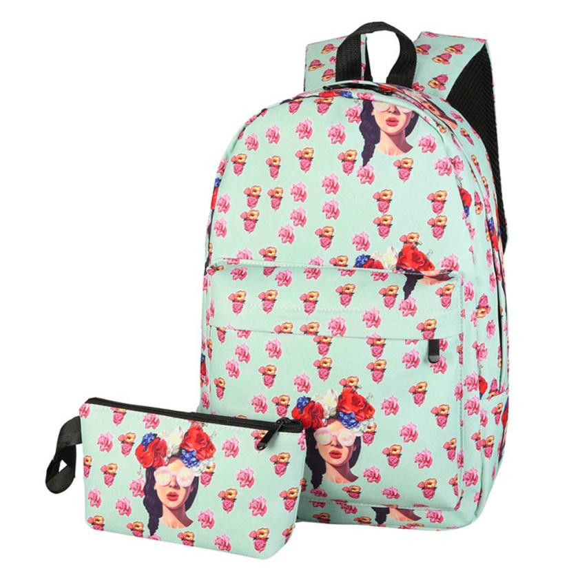 Ecoparty Girl Small Fresh Shoulder Bag Sac A Dos Ecole #5104 Unisex Backpack Fruit Floral Printing High Quality Canvas Zipper B