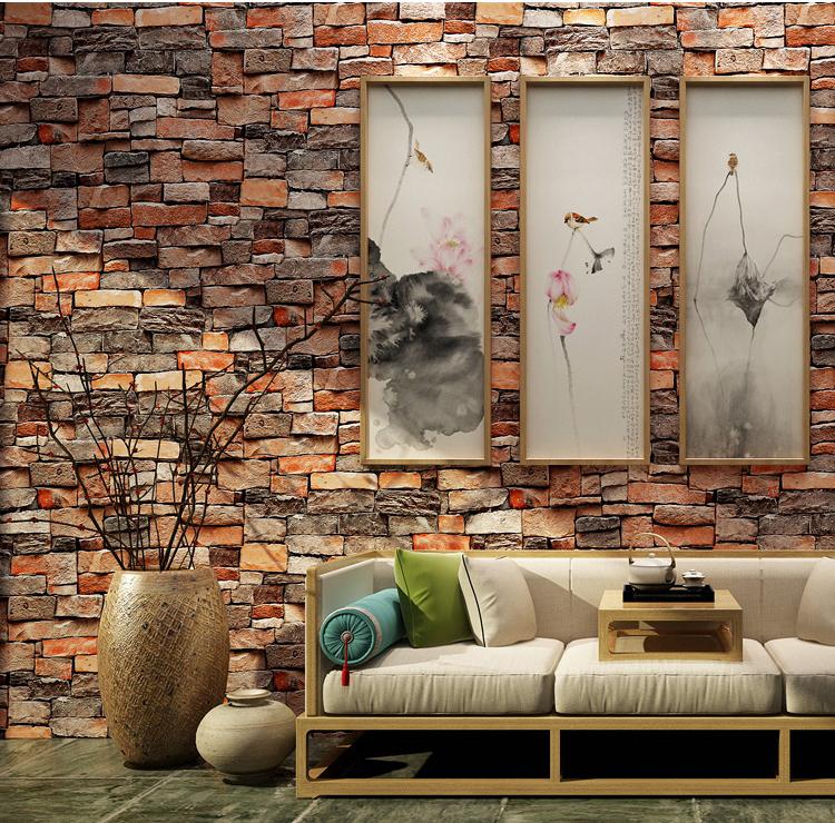 PVC 赤レンガ 3d パターンの壁紙壁家の装飾自己接着剥離とスティックビニールの壁の紙