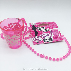 Cheap china factory price bride to be hen night party pink necklace beads Shot Glass