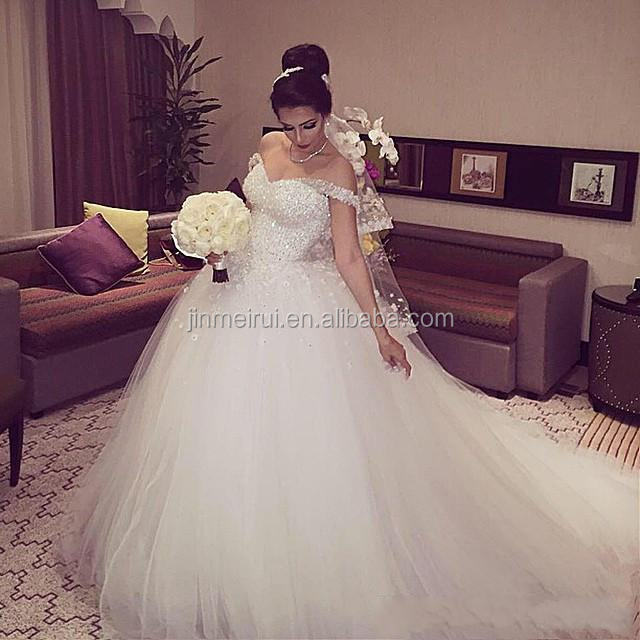 High Quality Arabic African Gorgeous Sparkly White Lace Ball Gown