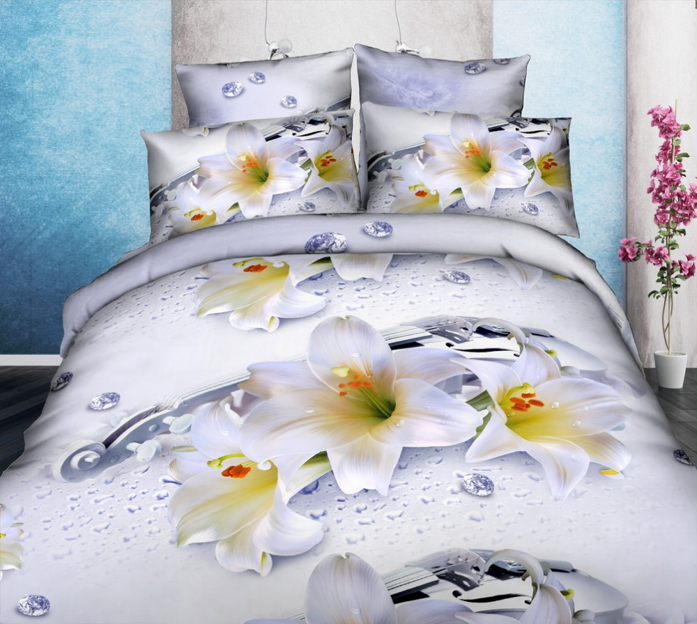 Bed Sheets Printed Polyester Bedding 3d Sets , 3d duvet cover set wholesale