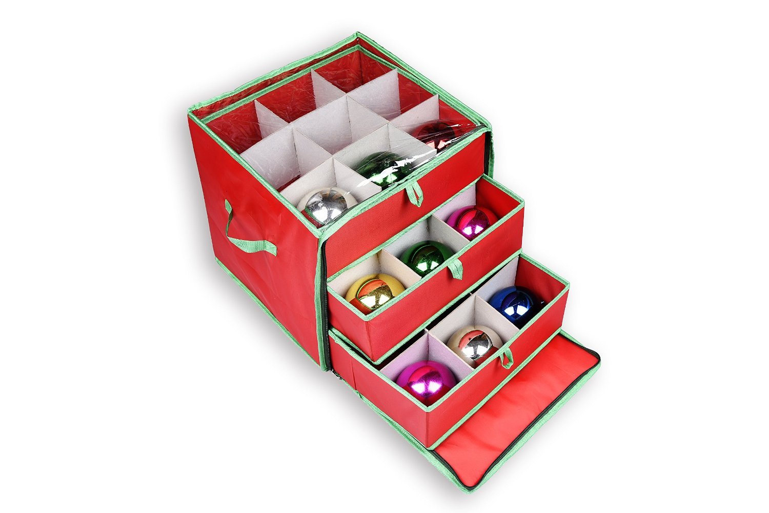 Get Quotations · NGenius Christmas Ornament Storage Box With Drawers For 27  Large Ornaments