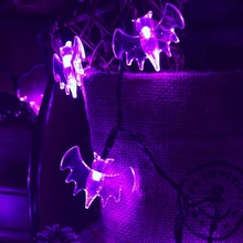 <span class=keywords><strong>Bateria</strong></span> operado LED bat Halloween party decor 7Ft <span class=keywords><strong>20L</strong></span> roxo <span class=keywords><strong>luzes</strong></span> <span class=keywords><strong>da</strong></span> corda com 2 modos de luz PVC