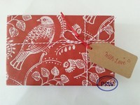 Handmade Red Kraft Wrapping Paper with Handprinted White Love Birds Christmas Gift Wrap