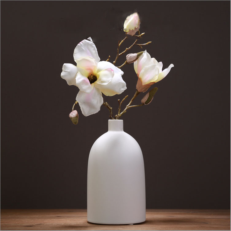 European style home decoration ceramic stoneware cylinder vase with textured finish