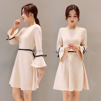 1ff1cdacc NS1757 coreano de mujer de moda casuales de moda de mangas de trompeta vestidos  elegantes