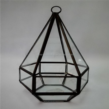 Black Metal Frame Glass Terrarium Hanging Geometric Glass Terrarium