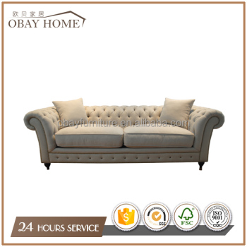 French Traditional Fabric sofa Button Tufted Upholstery Linen Sofa