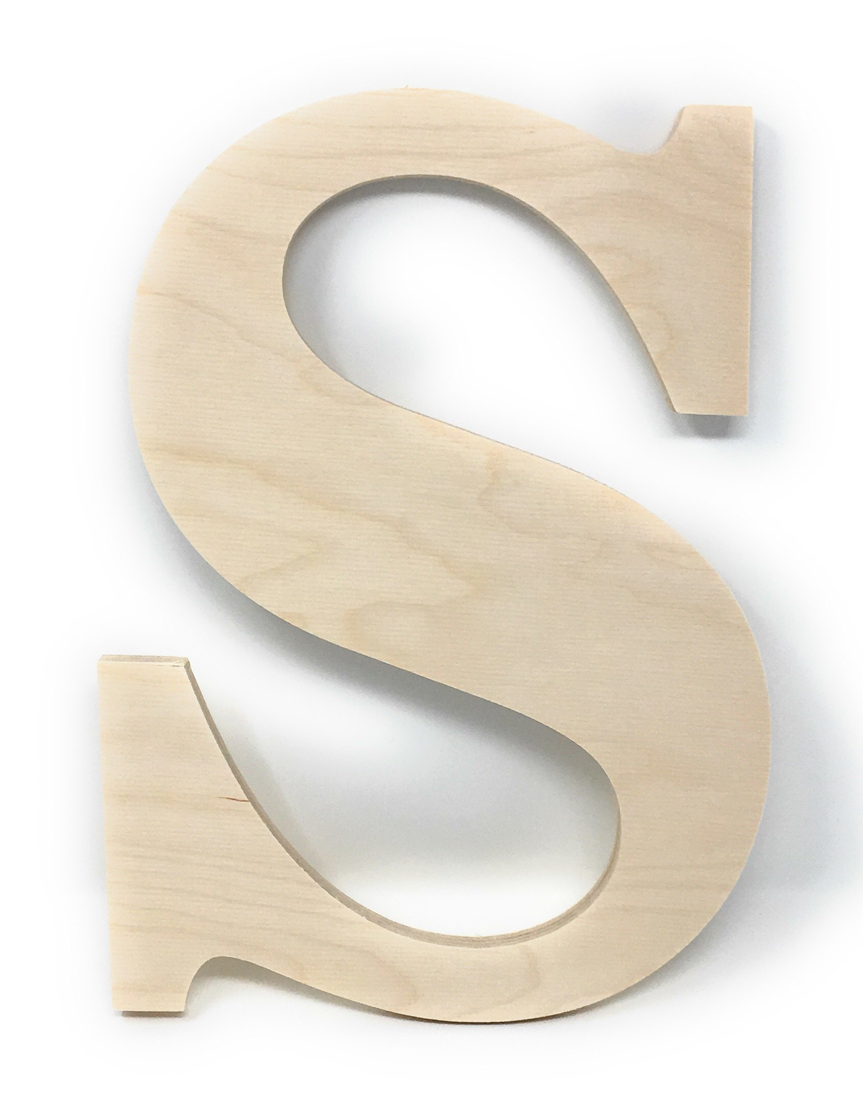 """Gocutouts 12"""" Wooden S Unfinished Wooden Letters Paint Ready Wall Decor News (12"""", S)"""