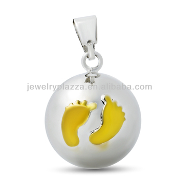 preganant women mexican bola, plain silver ball gold footprint harmony ball 20mm