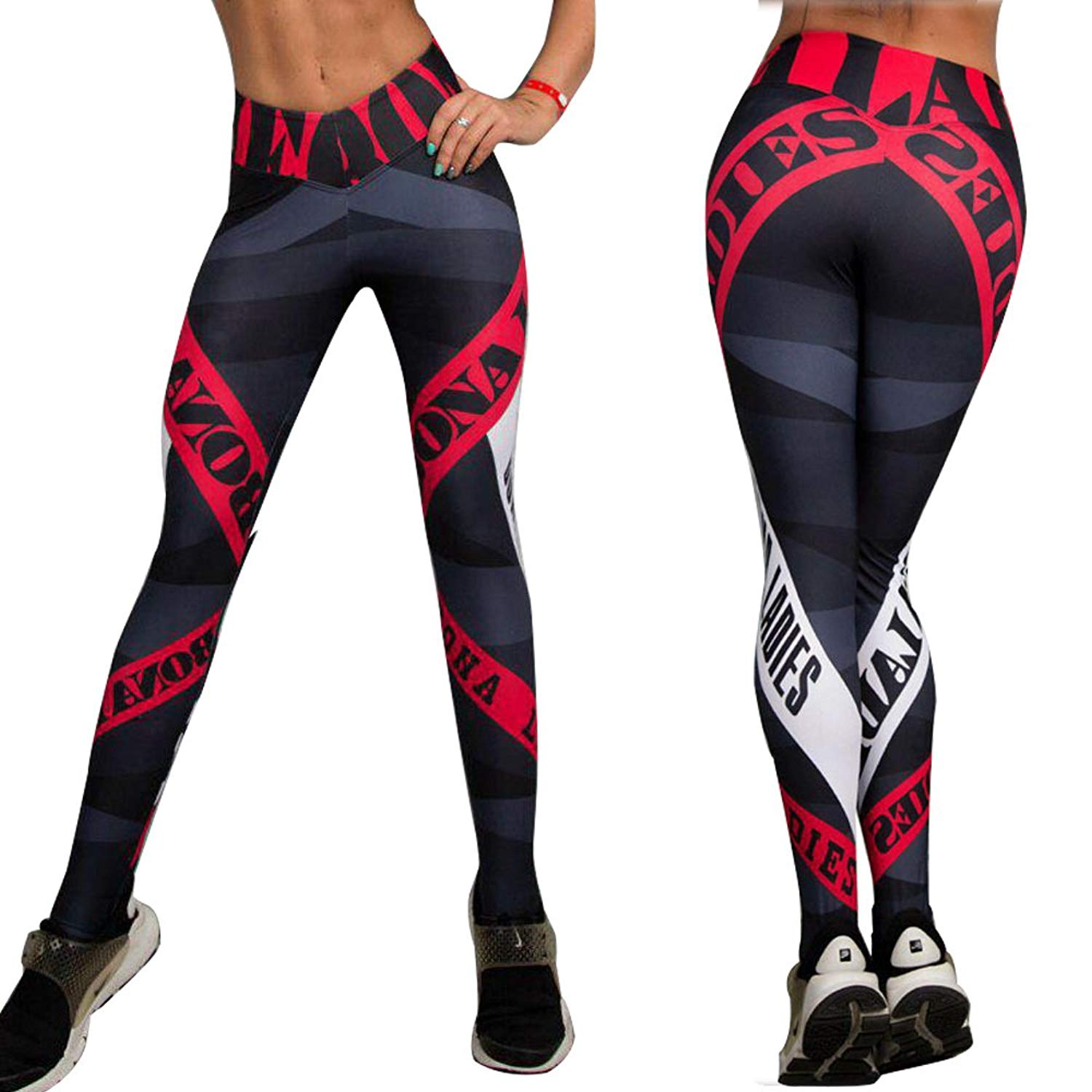 dbb6b35d0a5a15 Get Quotations · ROSUN Women's Letter Print Yoga Pants Red Striped Gym  Sport Leggings Tight Fitness Athletic Hips Leggings