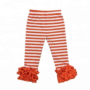Children clothing wholesale halloween baby kids pants cotton orange striped girls ruffle pants