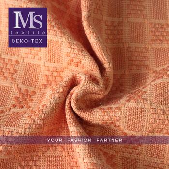 Fashionable High Quality Orange Plaid Wool Upholstery Textile Fabric