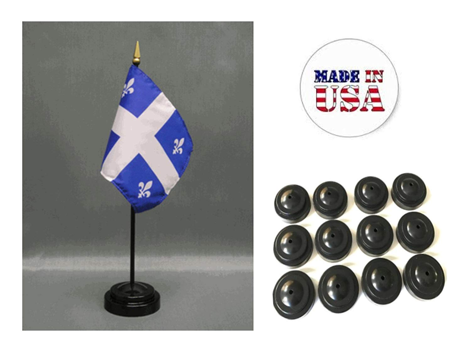 """Made in the USA!! Box of 12 Quebec 4""""x6"""" Miniature Desk & Table Flags Includes 12 Flag Stands & 12 Canada Quebec Small Mini Stick Flags"""