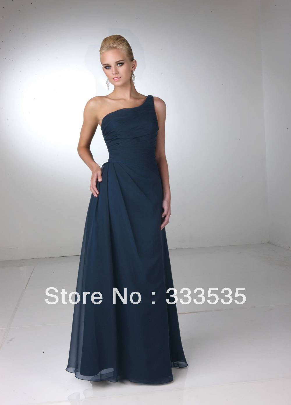 Navy Blue Bridesmaid Dress Floor Length High Neck Chiffon ...