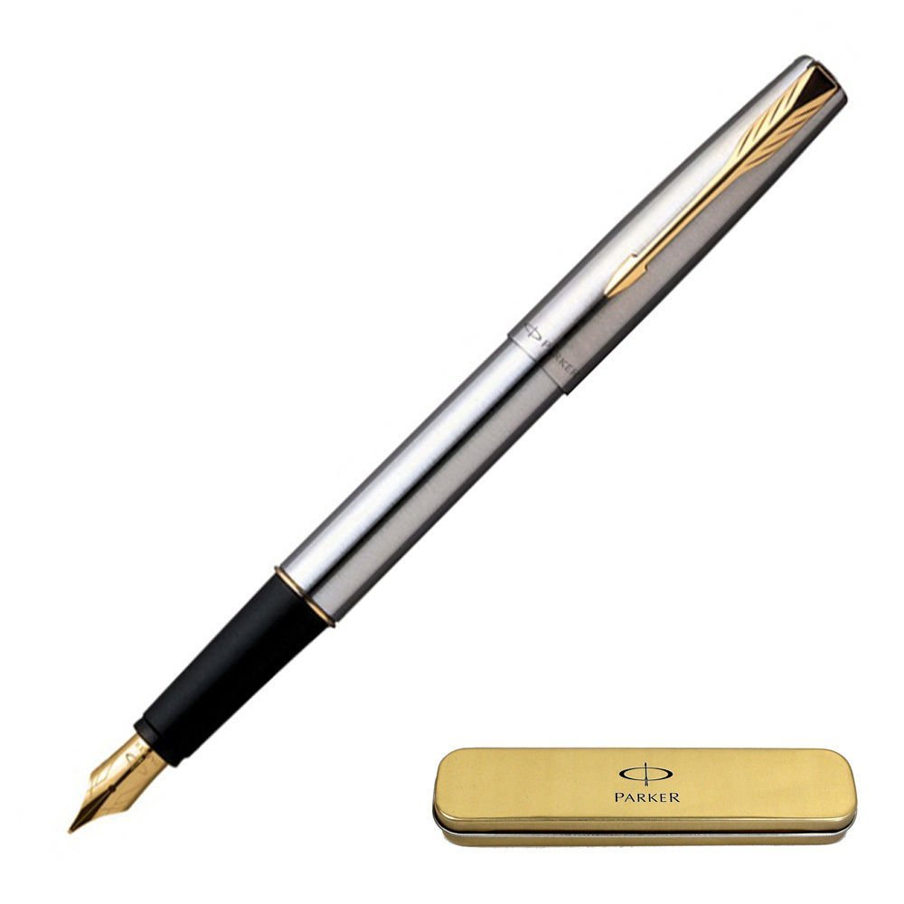 Parker Frontier Stainless Steel GT ( Gold Trim ) Fountain Pen - New