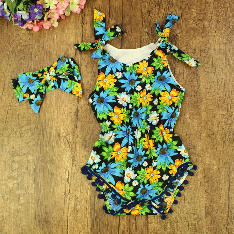 Pompom strap sleeveless romper top set floral hair band clothes outfit vintage clothing wholesale children
