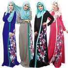 New Women Muslim Abaya Dress Traditional Lady Flower Islamic Clothing Kaftan Arab Clothes
