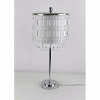 metal table lamp with crystal beads shade