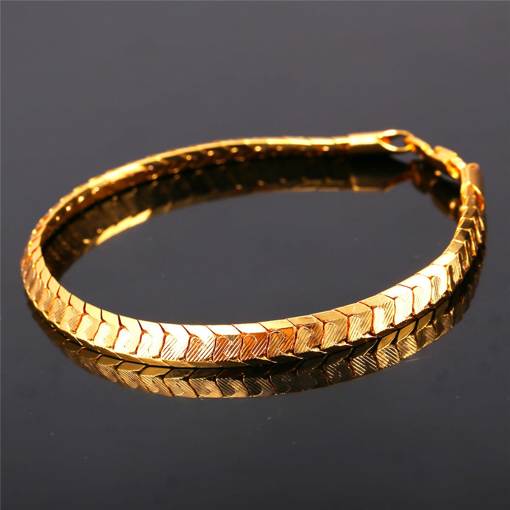 U7 Scale Chain Bracelets For Men Jewelry 18k Real Gold ...