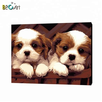 WholesaleCute  simple dog designs oil paint by number for sale