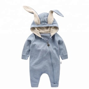 Bunny Ear Baby Jumpsuit Zipper Romper Cotton Infant Toddlers Unisex Hooded Rabbit Shower Outfits Bodysuit Clothes For Baby