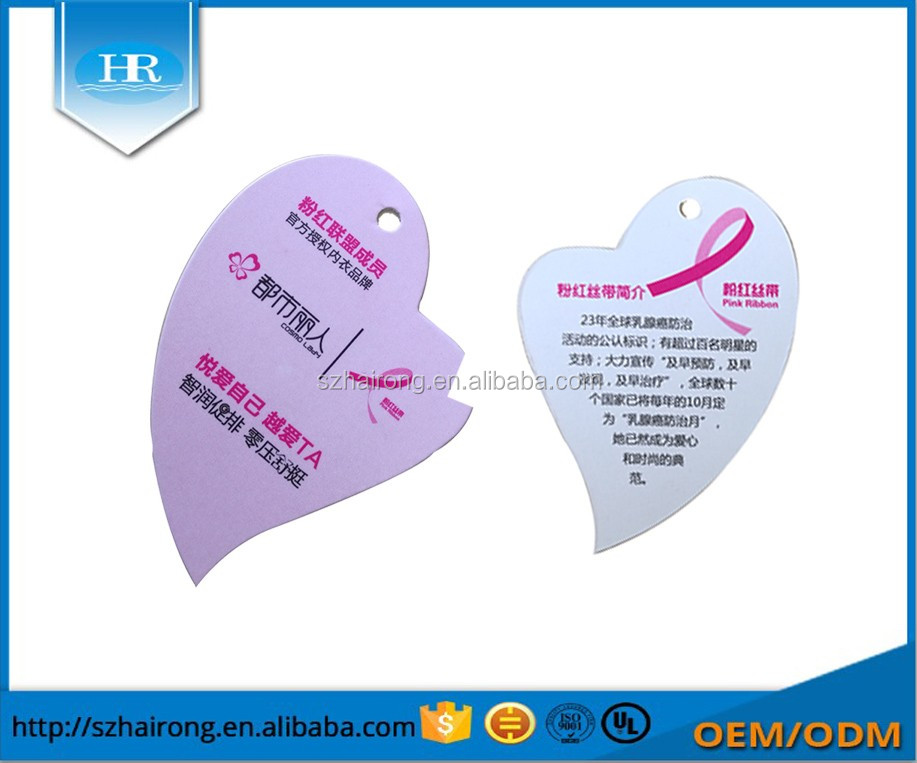 Wholesale logo print heart card hang tag for dress/garment/socks