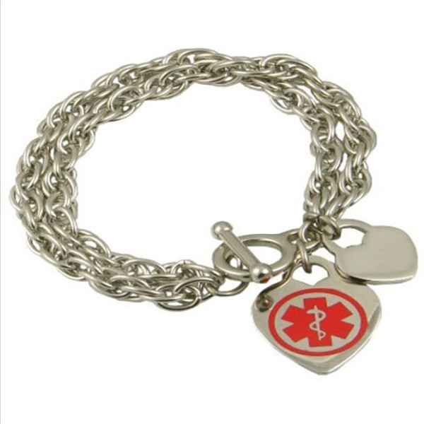 Yiwu Aceon Stainless Steel Two Layers Link Chain Style Double Heart Medical Bracelet for Lady