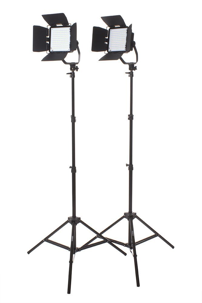 StudioPRO Photography Studio Premium 2 Spot Daylight LED Rectangle Panels with Barndoors Two Light Stand Kit for Interview, Portrait, Product