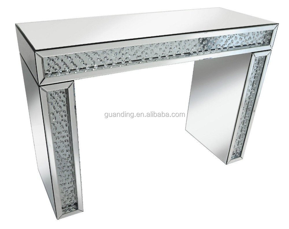 Contemporary Studded Silver Mirror Crystal Console Table Mirrored Furniture