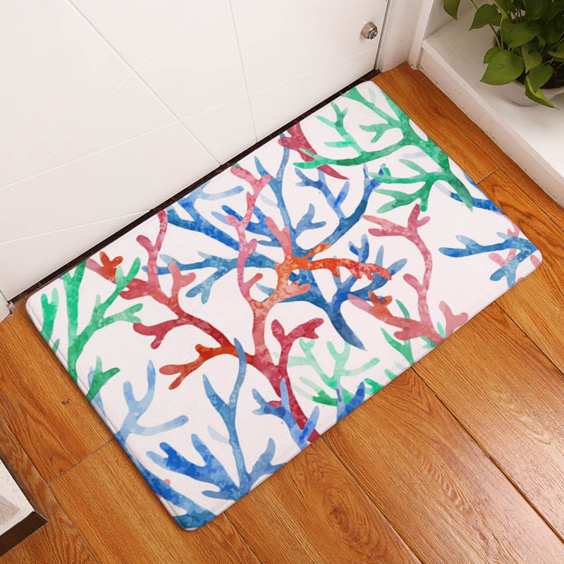 90579c5a8a843 Coral Printing Flannel Carpet Hippocampus Pattern Mat For Living Room  40x60cm Door mat Rectangle Tapete