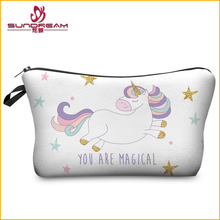 CUSTOM 3D Printing Unicorn Makeup Bags Multicolor Pattern Cute Cosmetics Pouchs For Travel Ladies Pouch Women Cosmetic Bag