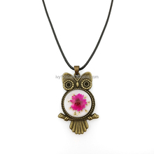 Vintage Women Real Dried Flower Copper Owl Pendent Necklace Jewelry