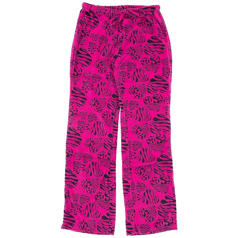 Inteco Magenta Zebra Heart Fleece Pajama Pants for Women