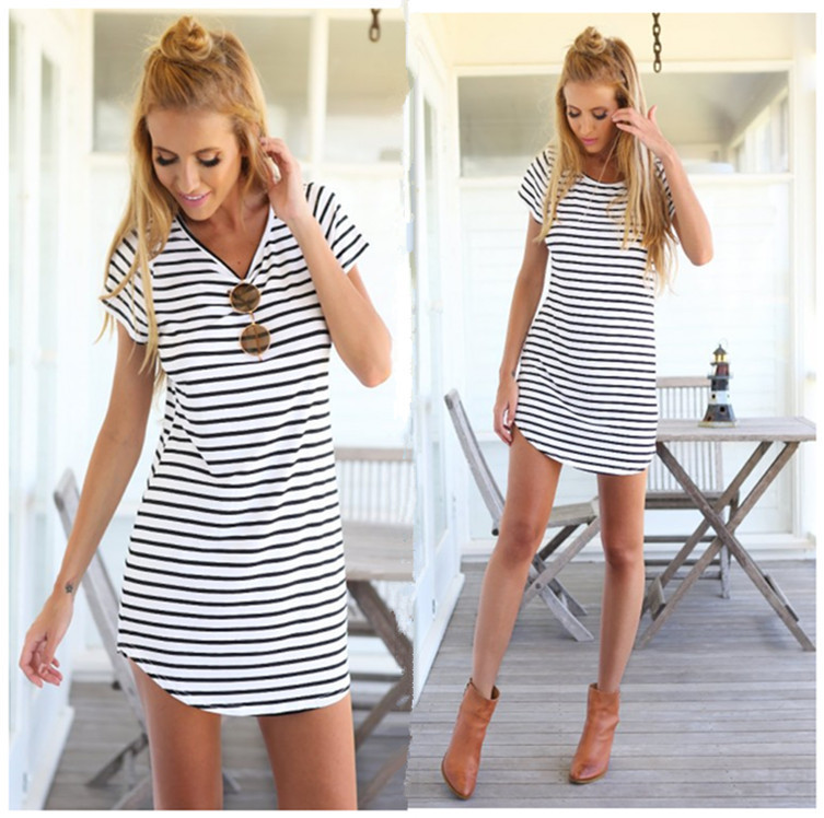 Wholesale summer beach dress striped casual short sleeve dress navy stripe  knitting short skirt OEM severice dd7470f93