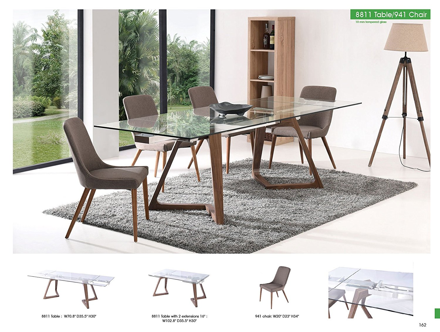 ESF 8811 Oak Retro Style Dining Table w/ Extension 941 Chairs Set 5Pcs Made in Italy