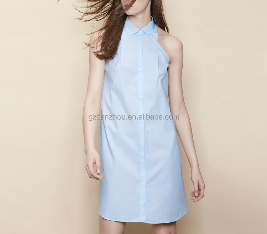 China supplier good price clothing OEM wholesale 100cotton poplin sleeveless shirt collar casual Backless shirt dress for women