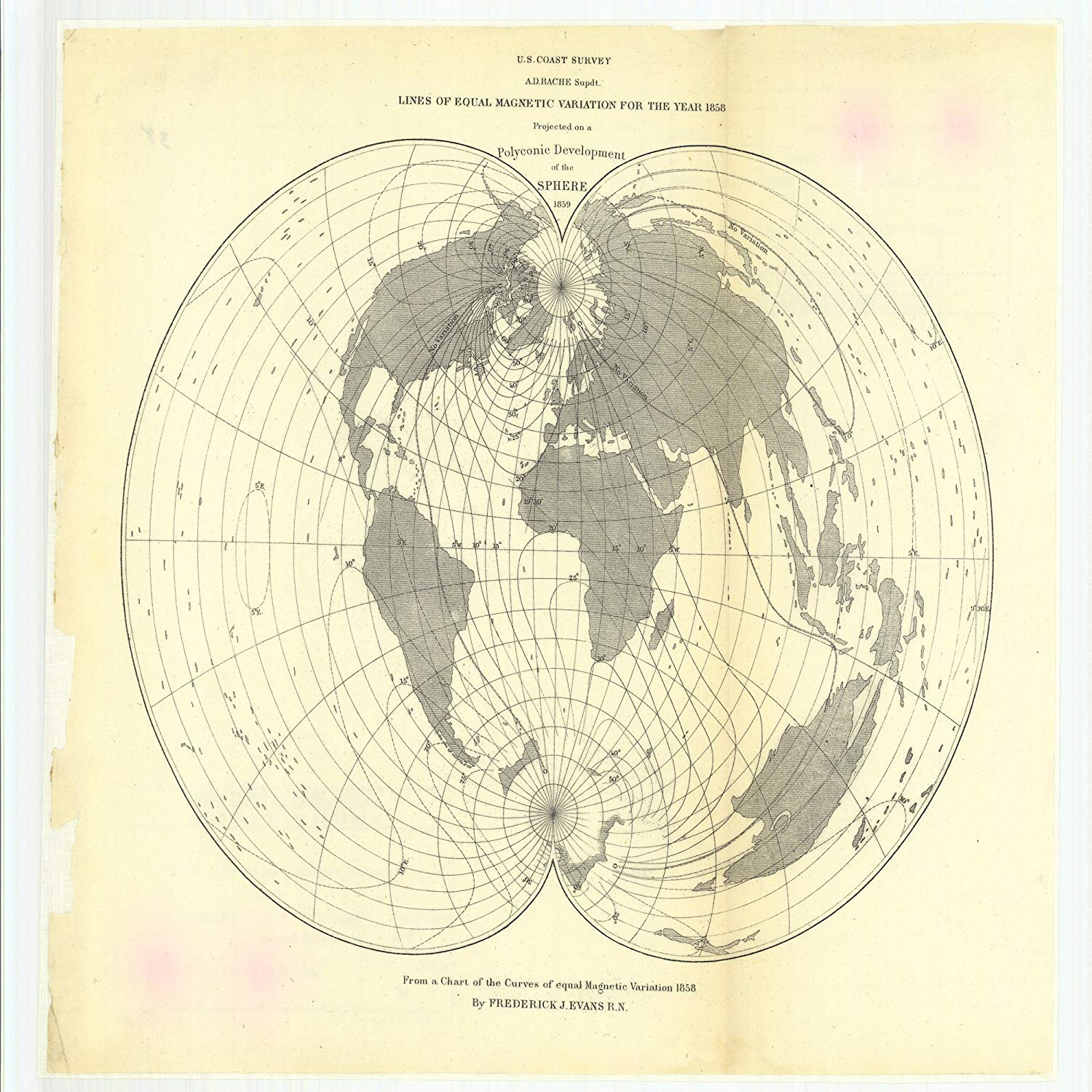 Vintography 8 x 12 inch 1880 Other Old Nautical map Drawing Chart Gnomonic Projection Flamsteed's Projection, Mercator's Projection Polyconic Projections from U.S. Coast Survey x7251
