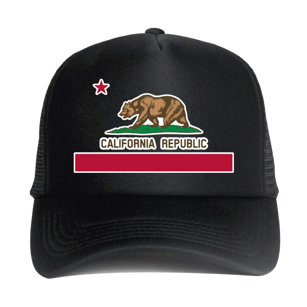 ebff2e7c070 Get Quotations · DongKing Fashion Trucker Hat for Adult California Flag  Print Snapback Baseball Mesh Cap