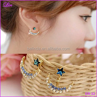 Retro Exquisite Women Crystal Gem Flower Moon Star Stud Earrings