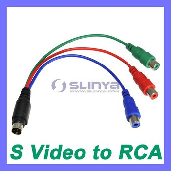 7 Pin S Video To 3 RCA RGB Component Cable Adapter TV HDTV