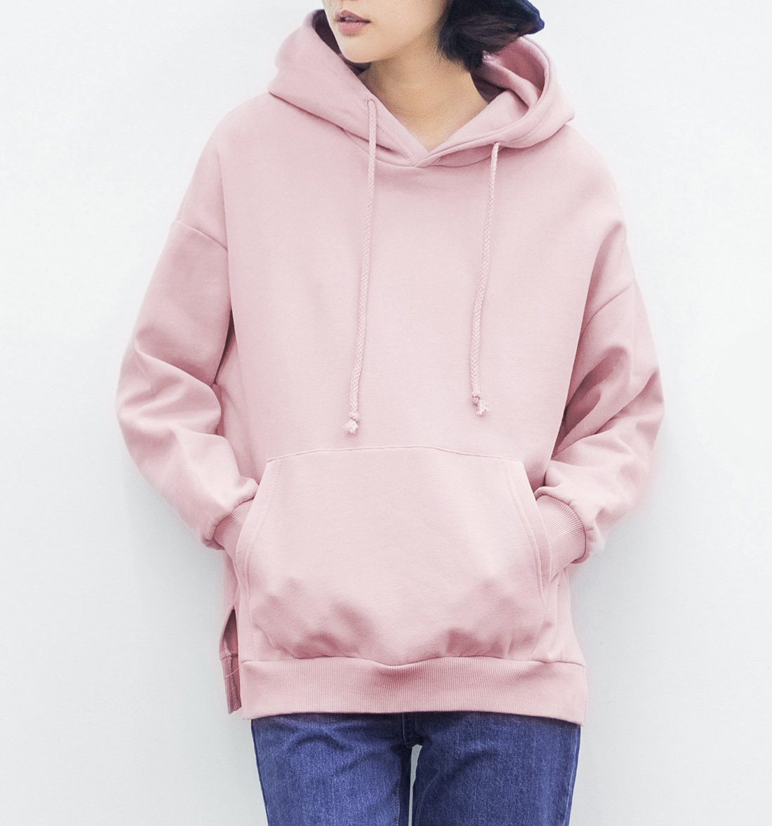 Autumn outfit new hooded draw string big pocket brief paragraph fleece