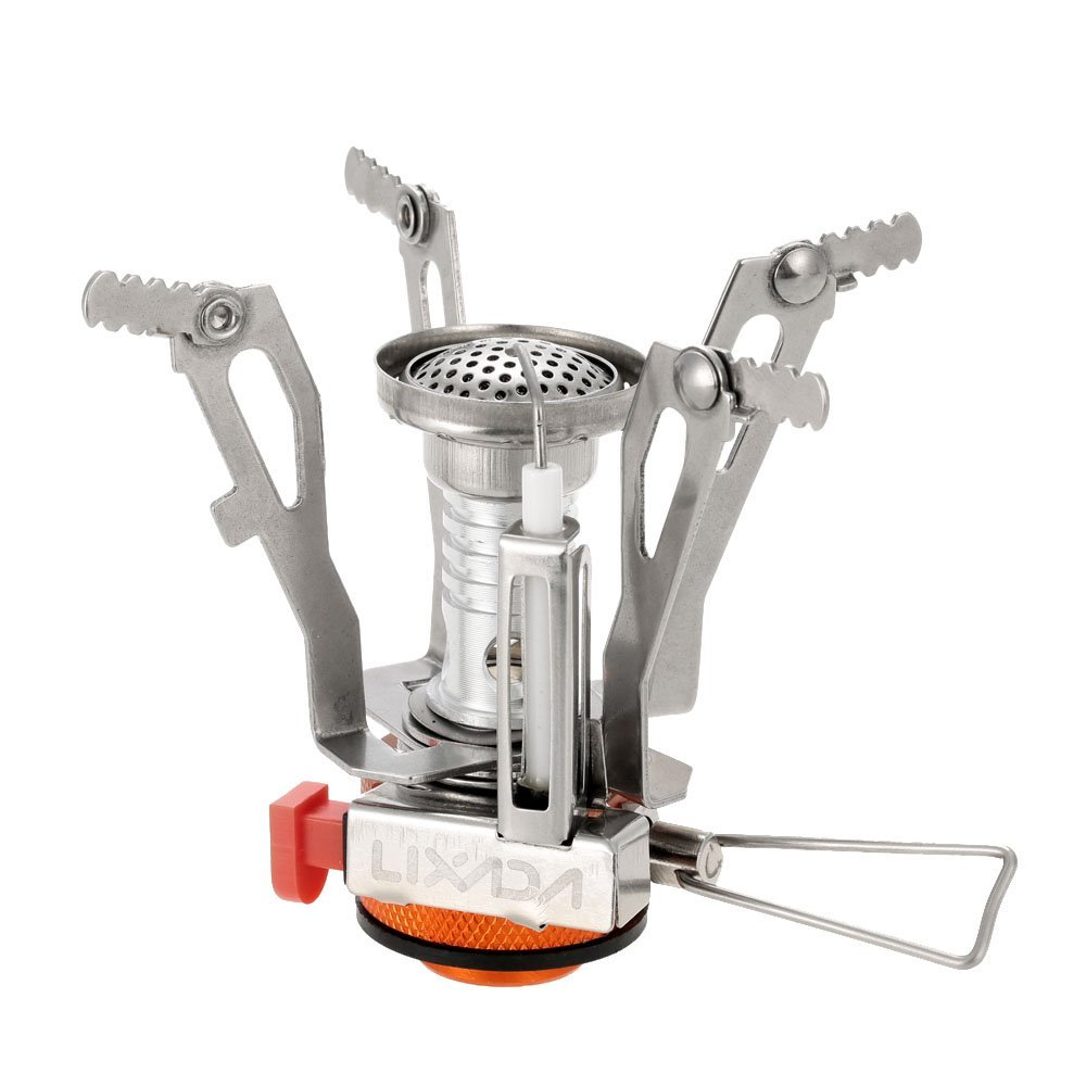Lixada Ultralight Camping Stove Mini Pocket Outdoor Cooking Burner Folding Backpacking Gas Stove 3000W with Piezo Ignition