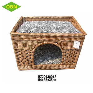 Wholesale China supplier pet favorite rattan willow wicker woven display cage dog cat house