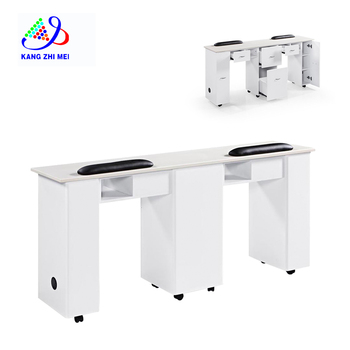 Kangmei nail salon furniture white double manicure table with marble top
