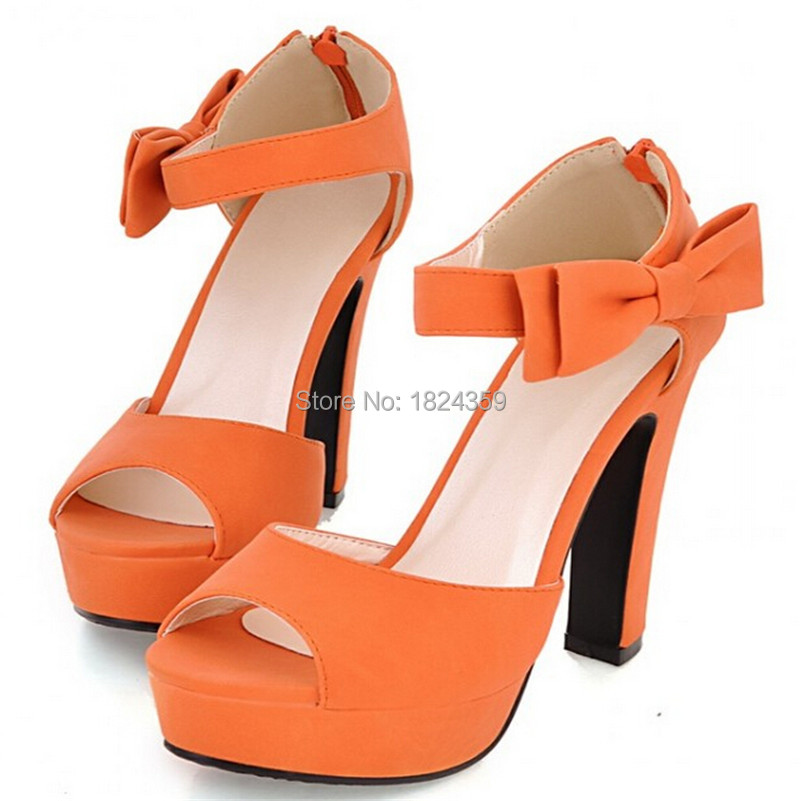 2015 New Peep toe Ankle strap orange Sweet Thick high heel Sandals Platform Lady women shoe Fashion summer style valentine shoes