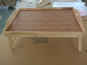 Expandable Bamboo Wood Dining Table and Serving Tray