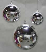 Cheap LARGE SHINY SILVER 200MM PLASTIC CHRISTMAS BALL 8